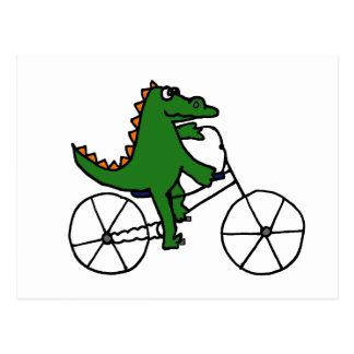 Funny Alligator Riding Bicycle Cartoon Postcard