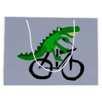 Funny Alligator Riding Bicycle Large Gift Bag