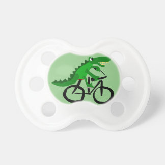 Funny Alligator Riding Bicycle Pacifier