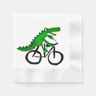 Funny Alligator Riding Bicycle Paper Napkin
