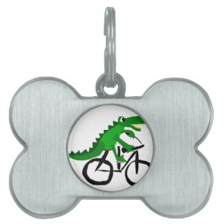 Funny Alligator Riding Bicycle Pet Tag