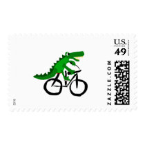 Funny Alligator Riding Bicycle Postage
