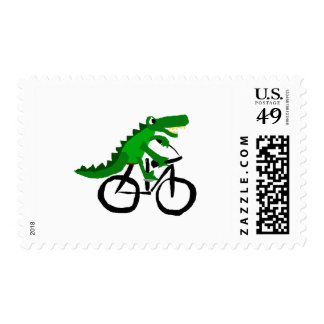 Funny Alligator Riding Bicycle Stamp