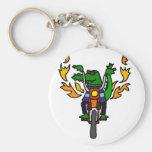 Funny Alligator Riding Motorcycle Basic Round Button Keychain