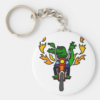 Funny Alligator Riding Motorcycle Keychain