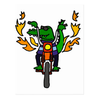 Funny Alligator Riding Motorcycle Postcard
