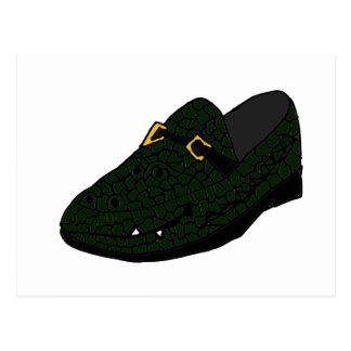 Funny Alligator Shoe Art Postcard