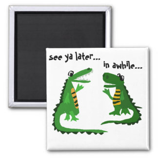 Funny Alligator Talking to Crocodile 2 Inch Square Magnet