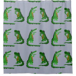 Funny Alligator Talking To Crocodile Art Shower Curtain