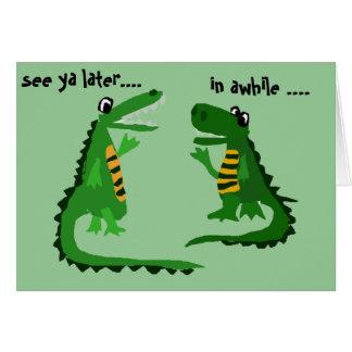 Funny Alligator Talking to Crocodile Card