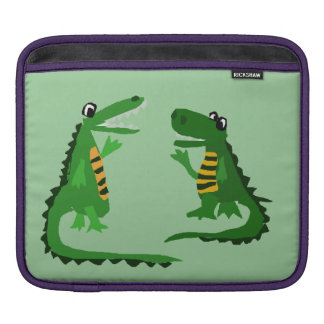 Funny Alligator Talking to Crocodile Sleeves For iPads
