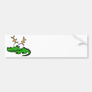 Funny Alligator with Antlers Christmas Art Bumper Sticker