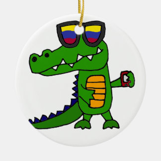 Funny Alligator with Cell Phone Ceramic Ornament