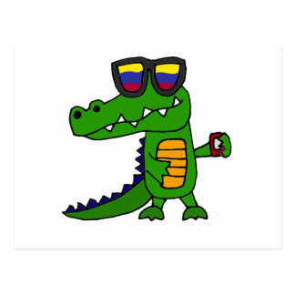 Funny Alligator with Cell Phone Postcard