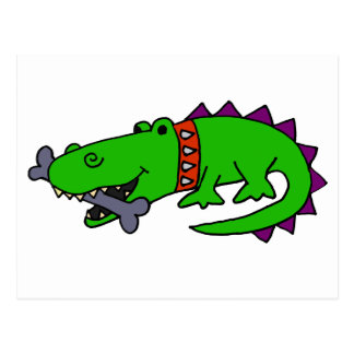 Funny Alligator with Spiked Collar and Dog Bone Postcard