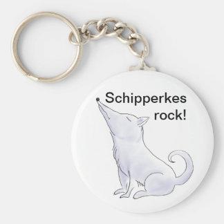 Funny Aloof Schipperke Dog Cartoon Keychain