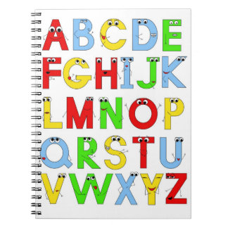 funny alphabet spiral note book