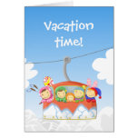 Funny alpine lift with sportmen greeting card