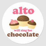 Funny Alto Chocolate Quote Music Gift Round Stickers