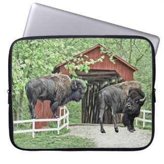 Funny American Bison At The Covered Bridge Computer Sleeve