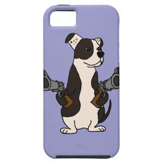 Funny American Bulldog with Guns Drawn Cartoon iPhone SE/5/5s Case