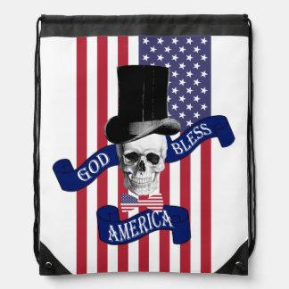 Funny American flag Drawstring Backpack