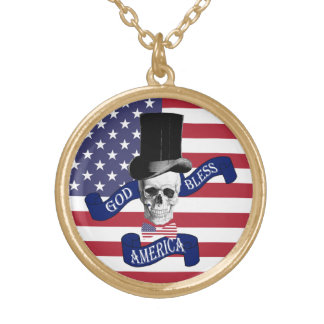 Funny American flag Gold Plated Necklace