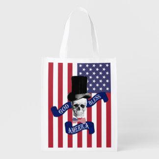 Funny American flag Reusable Grocery Bag