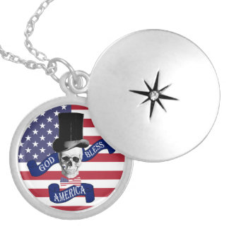 Funny American flag Silver Plated Necklace