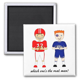 Funny American Football versus Rugby Cartoon 2 Inch Square Magnet