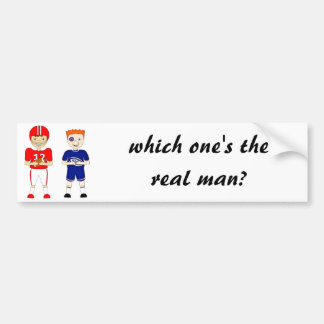 Funny American Football versus Rugby Cartoon Bumper Sticker