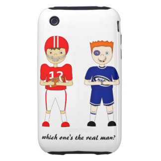 Funny American Football versus Rugby Cartoon Tough iPhone 3 Covers