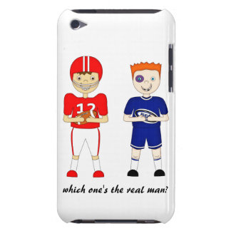 Funny American Football versus Rugby Cartoon iPod Case-Mate Case