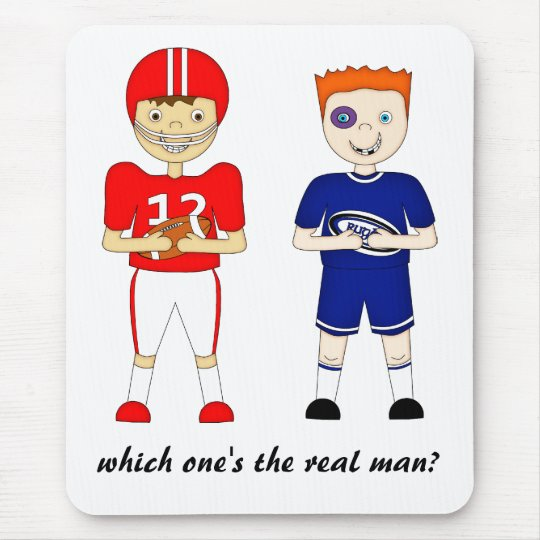 Funny American Football versus Rugby Cartoon Mouse Pad