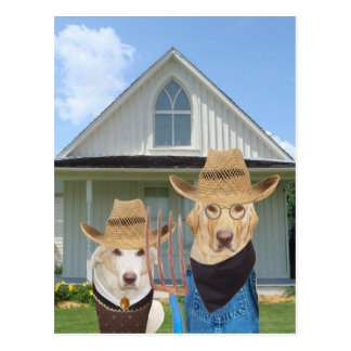 Funny American Gothic Dogs/Labs Postcard