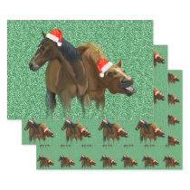 Funny American Horses wearing Christmas Santa hat Wrapping Paper Sheets