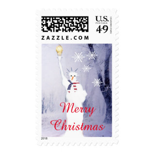 Funny American Snowman Xmas Holiday Postage at Zazzle
