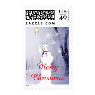Funny American snowman Xmas holiday Postage