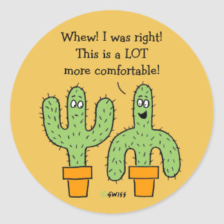 Funny American Southwest Cactus Cartoon Classic Round Sticker
