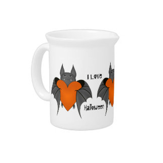 Funny amorous Halloween vampire bat Beverage Pitcher