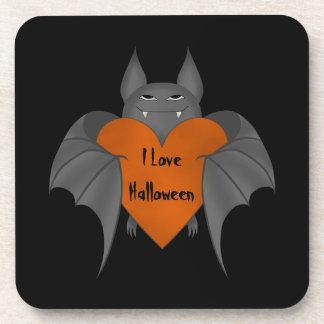 Funny amorous Halloween vampire bat Drink Coaster