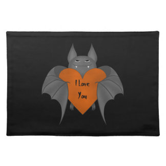 Funny amorous Halloween vampire bat Placemat