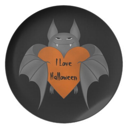 Funny amorous Halloween vampire bat Party Plates