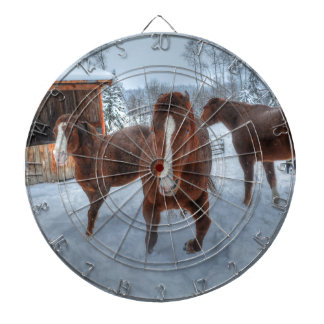 Funny Amorous Stallion and Reluctant Mare Horses Dartboard With Darts