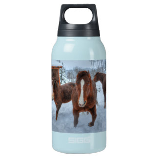 Funny Amorous Stallion and Reluctant Mare Horses Insulated Water Bottle