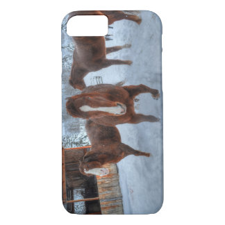 Funny Amorous Stallion and Reluctant Mare Horses iPhone 8/7 Case