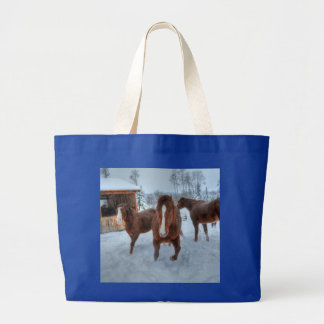 Funny Amorous Stallion and Reluctant Mare Horses Large Tote Bag