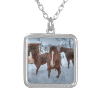 Funny Amorous Stallion and Reluctant Mare Horses Jewelry