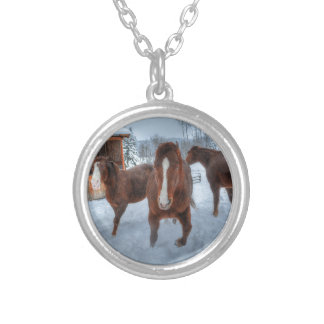 Funny Amorous Stallion and Reluctant Mare Horses Silver Plated Necklace