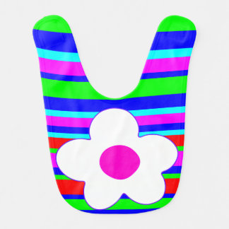 funny and colorful flower,girly bib